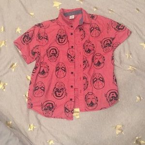 Marvel Comics Button Down Collared Short Sleeve